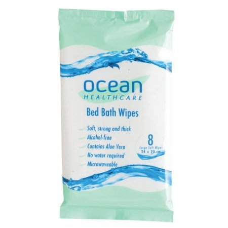 Bath Wipes Ocean 20cm x 24cm 8/Pk x12 Packs