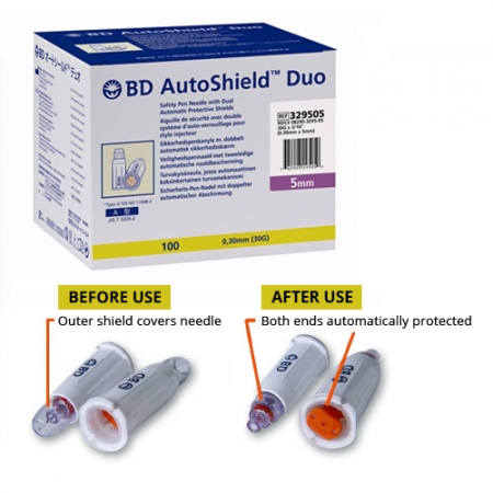 Autoshield Duo Pen Needles 30G x 5mm Box of 100
