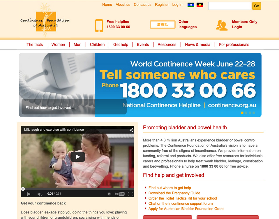 Continence Foundation of Australia Website